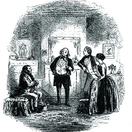 Skimpole, Esther, Richard, and Coavinses, the debt collector, Bleak House