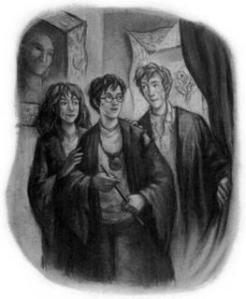 Harry, Ron, Hermione, Harry Potter series illustration