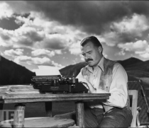 Hemingway writing Life magazine photo